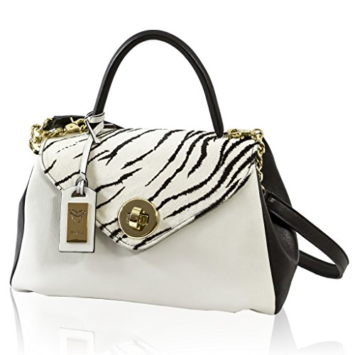 Ghibli Italian Designer White/Black Leather & Zebra Haircalf Structured Bag