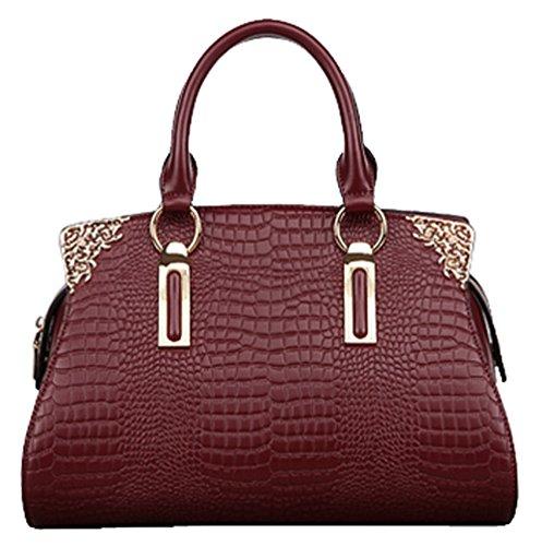 SAIERLONG Women's Cross Body Bag Handbag Tote Cow Leather – CROCO Crocodile OL commuter Dimensional Solid bag