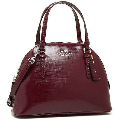Coach Peyton Patent Saffiano Leather Mini Dome Satchel Removable Crossbody Strap in Sherry