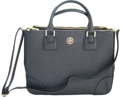 NWT Tory Burch Robinson Double Zip Tote Black Shoulder Handbag Bag Purse RP575