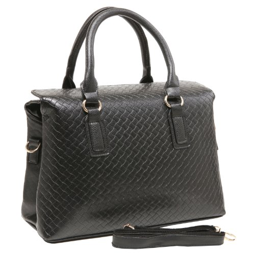 MG Collection JANICE Chic Woven Pattern Black Structured Office Tote Handbag