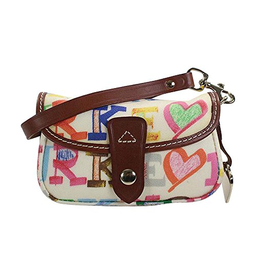 Dooney & Bourke Small Flap Wristlet White w/ honey trim