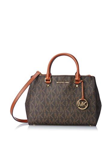 Michael Kors Sutton Medium Satchel N/S Travel Tote Handbag Brown