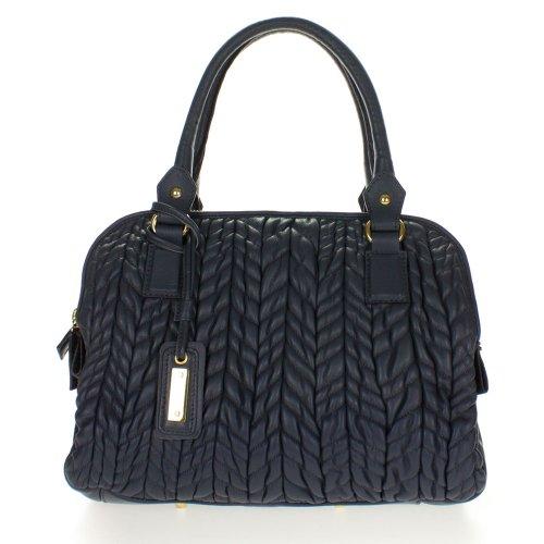 Paolo Masi Italian Made Dark Gray Quilted Lamb Leather Designer Tote Handbag Purse