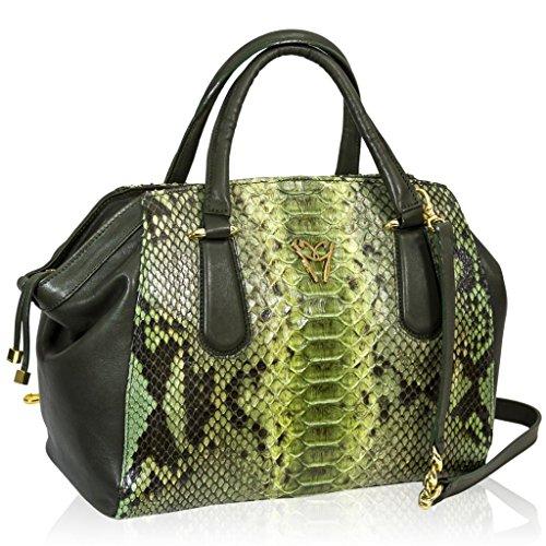 Ghibli Italian Designer Jade Green Python Leather Large Satchel Purse Bag
