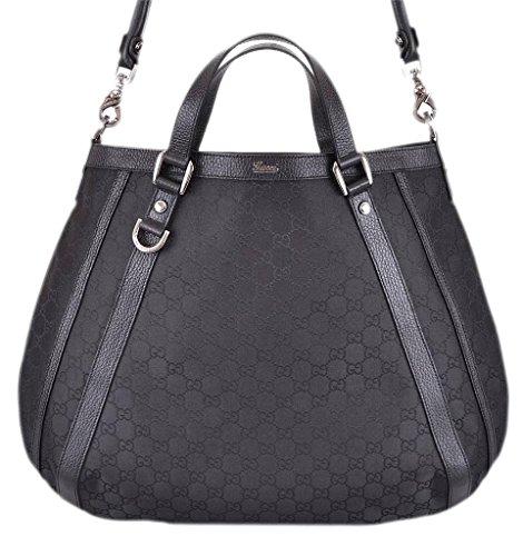 Gucci 268641 Women's Black Nylon Abbey GG D Ring Purse Hobo O/S