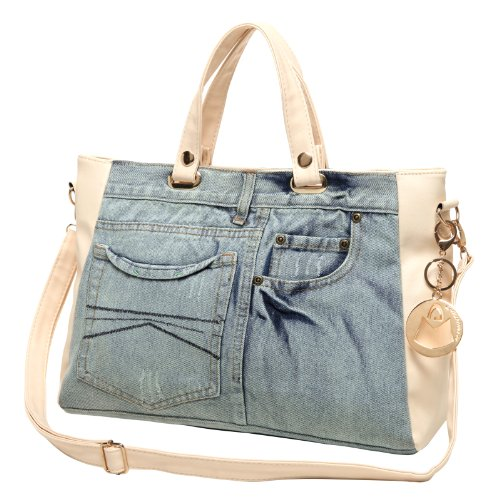 MG Collection ASTA Fun Stylish Blue Denim Jeans Shopper Tote Style Shoulder Bag