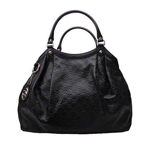 Gucci Sukey Guccissima Black Leather Large Tote Bag Handbag