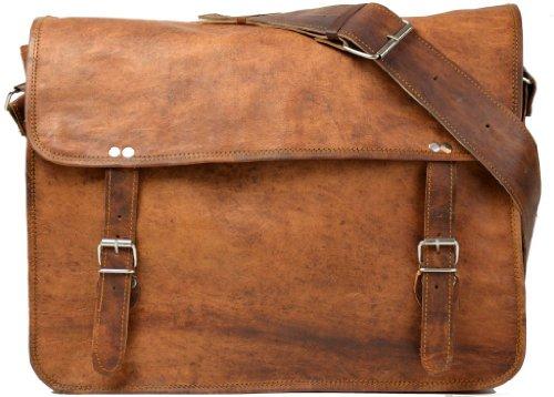 Gusti Leder nature Genuine Leather Satchel Messenger Shoulder Cross-Body Smart Casual Office Uni College Vintage Bag Unisex Natural Brown U28
