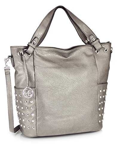 Jessica Simpson Beatrice Tote Shoulder Bag, Pewter, One Size