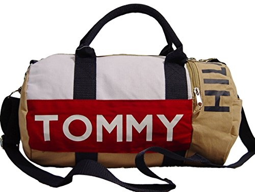 Tommy Hilfiger Logo Khaki Canvas Mini Duffle Bag
