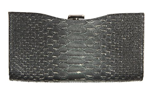 Coach Madison Leather Framed Clutch Evening Bag in Black/Silver 26332