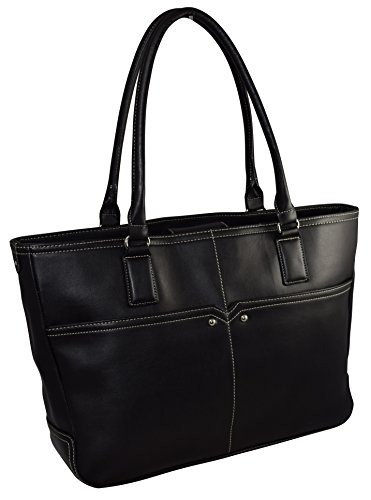 "Ultimate Work Tote, ""Linda Classic"" Faux Leather Business Women's 15.5″ Laptop Tote With Padded Removable Compartment – Black"