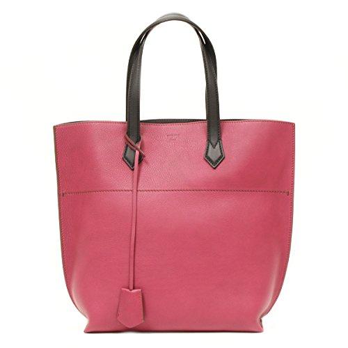 Fendi Large Burgundy Leather Shopping Tote Bag