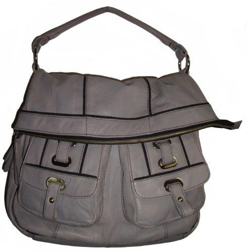 Oryany Women's Genuine Leather Hobo Handbag, Large, Light Grey