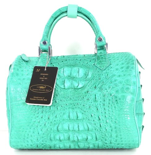 100% HORNBACK SKIN GENUINE CROCODILE LEATHER HANDBAG CLUTCH BAG PURSE SHINY TURQUOISE GREEN EMS SHIPPING @ Genuineshop