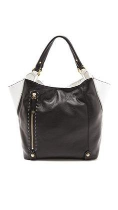 Oryany Black White Leather Aquarius Colorblock Tote Shoulder Bag Satchel Purse