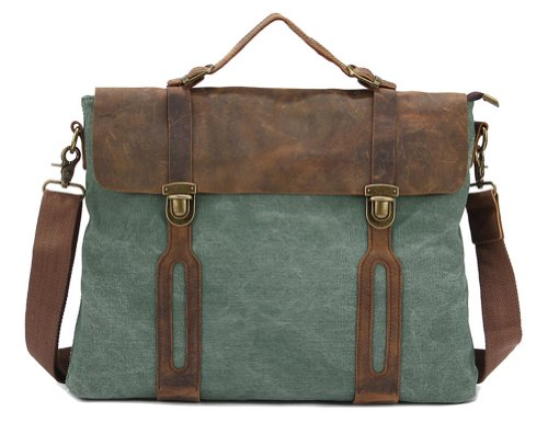 Kattee EU Style Canvas and Leather Large Messenger Bag