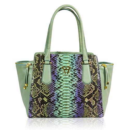 Ghibli Italian Designer Turquoise Python Leather Large Flared Purse Tote Bag
