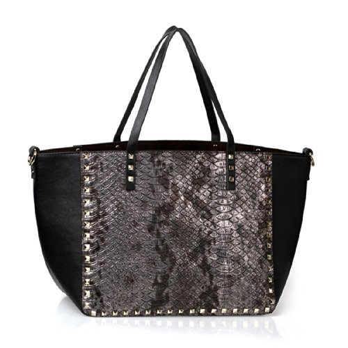 BMC Gold Colored Pyramid Stud Bordered Faux Leather Snakeskin Fashion Tote Purse