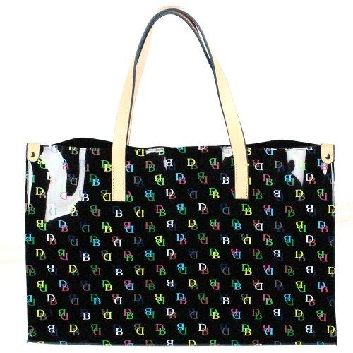 Dooney & Bourke Clear IT Large Shopper Beach Bag Purse Tote Black Multi
