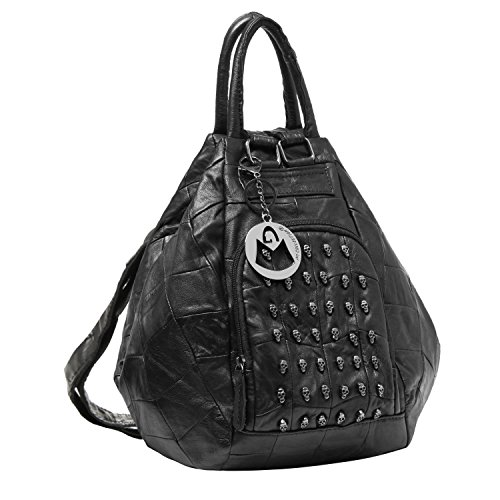 MG Collection EVE Black Gothic Skull Studded Leather Backpack / Hobo Tote Bag