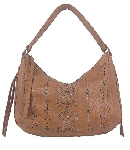 Lucky Brand Newport Perforated Hobo Bag, Cognac