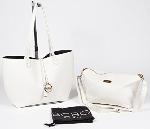 BCBG PARIS Handbag Convertible Reversible Bag Off White/Black,Stylish Bag, Regular Size, 2014/2015 Collection[Apparel],Available on different Colors