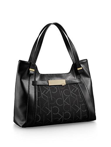 Calvin Klein Addie Scoop City Satchel Handbag Black