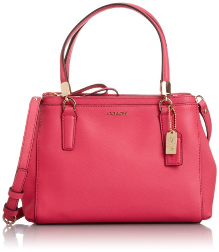 Coach Madison Mini Christie Carryall in Saffiano Leather Pink Ruby 30402