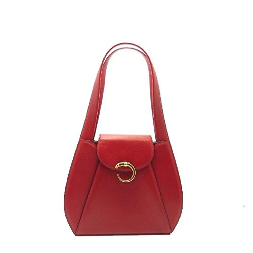 CARTIER® PANTHERE CALF-SKIN LEATHER SHOULDER BAG. RED. Made in FRANCE. LARGE