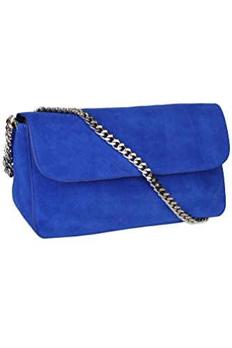 Solid Blue Nubuck Genuine Leather Classic Gold Chain Shoulder Bag With Clutch