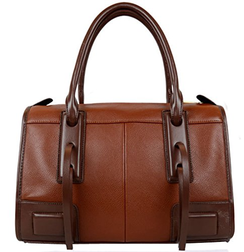 Heshe New Europe Style Compound Cowhide Tote Top Handle Cross Body Shoulder Bag Handbag Knight Bag