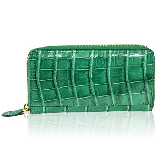 Ghibli Italian Designer Green Genuine Alligator Leather Wallet Purse Clutch