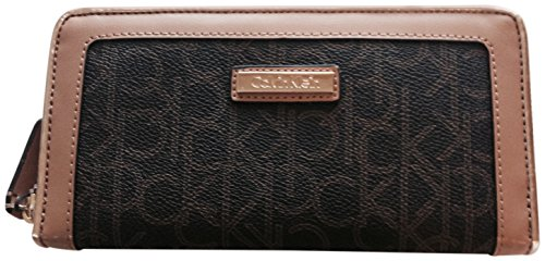 Calvin Klein Monogram Zip Around Wallet Black Khaki Camel