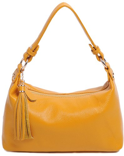 Heshe Women's Genuine Leather Tassels Cross Body Shoulder Bag Satchel Handbag
