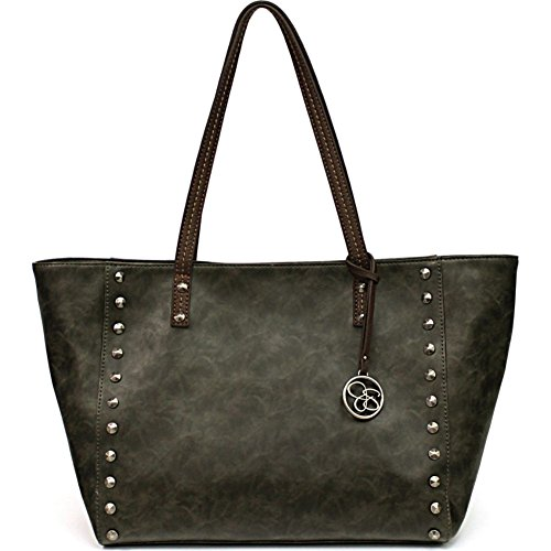Jessica Simpson Lolita Stud Tote with Removable Pouch (Slat Grey/Dk Brown)