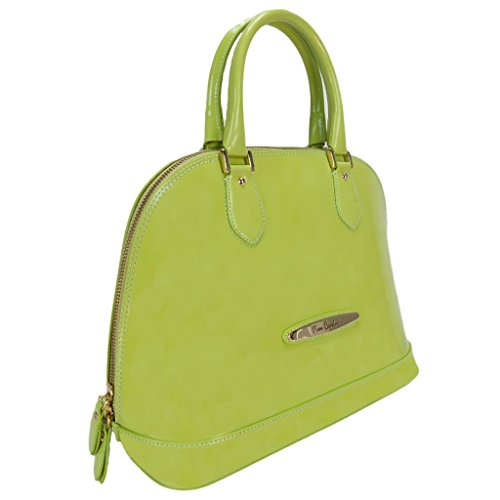 Pierre Cardin 4067 VERDE Made in Italy Lime Green Leather Zip Dome Satchel