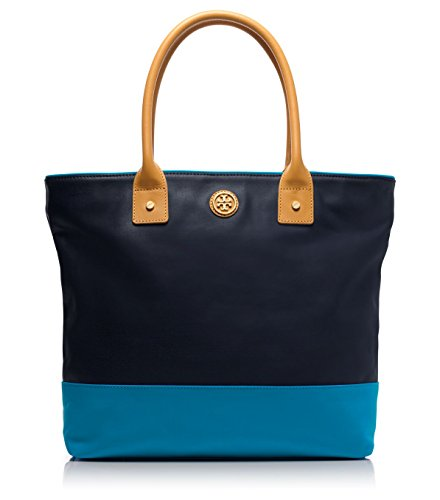Tory Burch Dipped Canvas Jaden Tote in Tory Navy & Tahitian Turquoise