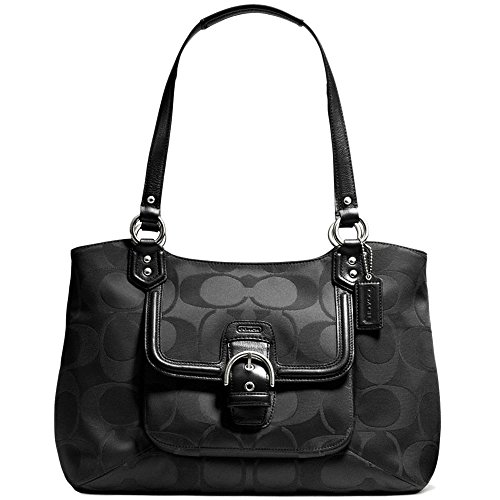 New Authentic COACH Campbell Belle Signature Black Sateen Large Carryall Tote