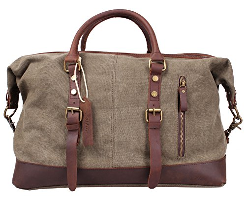 Blueblue Sky Oversized Leather Canvas Casual Travel Tote Luggage Duffel Handbag#831 (Army Green XL 55cm)