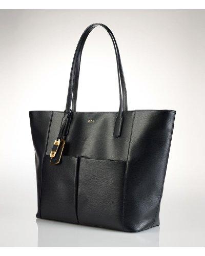 Lauren Ralph Lauren Newbury Pocket Tote Black (Gold) – Lauren Ralph Lauren Designer Handbags