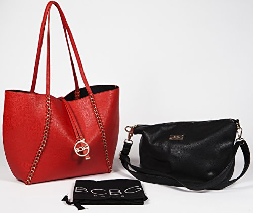 BCBG PARIS Handbag Convertible Reversible Chain Bag Red/Black,Stylish Bag, Regular Size, 2014/2015 Collection[Apparel],Available on different Colors