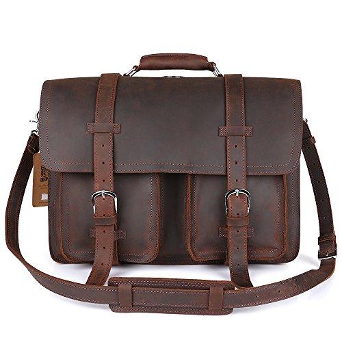 Kattee Real Leather 16″ Laptop Briefcase Large Messenger Bag Backpack Handbag