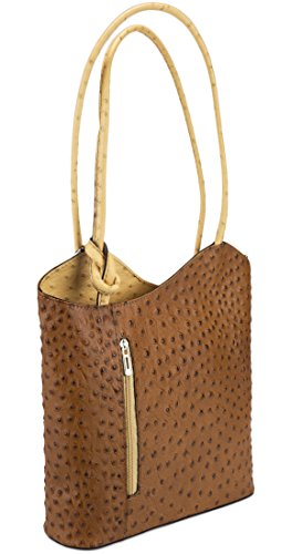 HS 3005 CUC PHOEBE Made in Italy Tan/Camel Ostrich Embossed Bucket Shoulder Bag