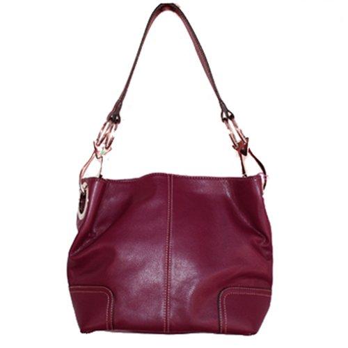 Classic Medium Shoulder Hobo Handbag TOSCA Burgundy Red Silver Buckles Italy