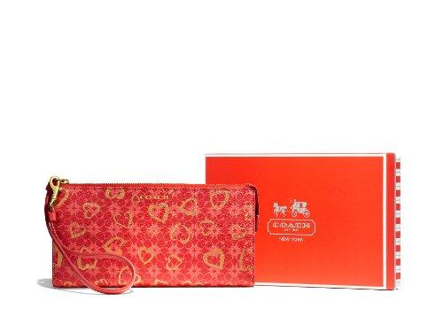Coach Box Program Hearts Zippy Wallet Brass/Love Red Multicolor