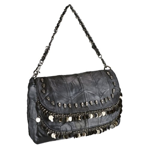 MG Collection KATE Gothic Skull Studded Sequined Fringe Black Leather Hand Bag