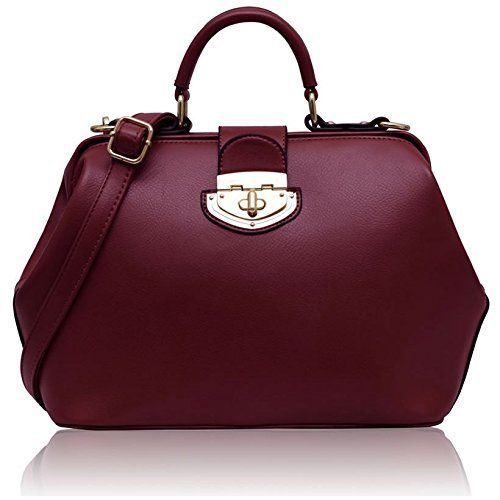 Ladies Designer Burgundy Red Satchel Bag Classic Womens Doctors Bag Handbag KCMODE