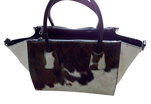 J.Ca Women's Fashion Real Hari Hourse Leather Fancy Satchel Tote Shoulder Bag